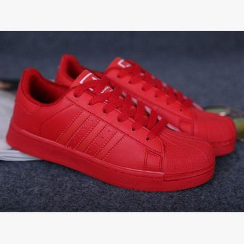ESBONS Adidas' Fashion Shell-toe Flats Sneakers Sport Shoes Pure color cute Red