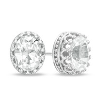 Oval Lab-Created White Sapphire Crown Earrings in Sterling Silver