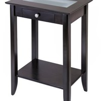 Winsome Wood Syrah Accent Table with Forsted Glass, Shelf
