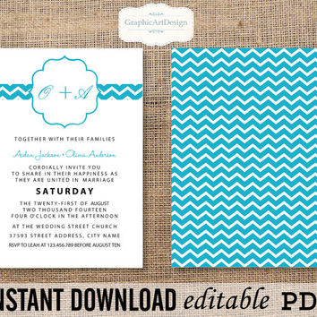 Sky Blue Chevron Wedding Invitation Monogram Editable PDF(Fonts, Colors, Size) Text That You Personalize with Adobe Reader Instant Download
