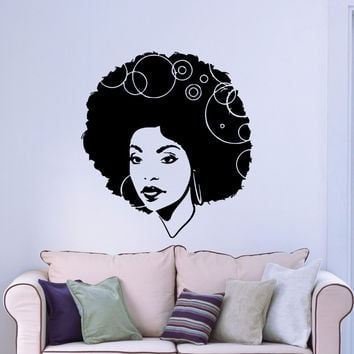 Wall Stickers Vinyl Decal Black Sexy Hot Gorgeous  African  Afro Hair em449 Unique Gift .