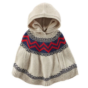 Hooded Fair Isle Poncho