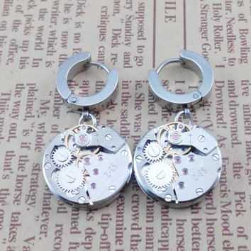Pairs   2pcs SteamPunk  watch  Gothic Rock Clip Ring Earrings , Stainless Steel  Ear studs  , handmade ear plugs,  Earing Stud Piercing,