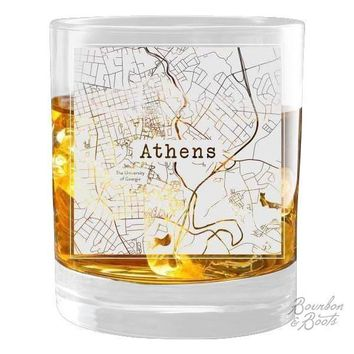 College Town Etched City Map Cocktail Glasses