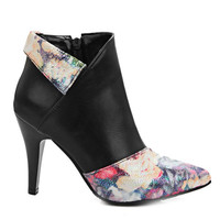 Floral Print Stiletto Heel Zipper Short Boots