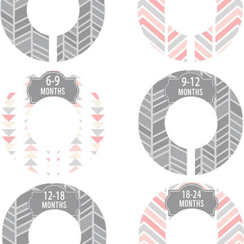 Custom Baby Closet Dividers Grey Pink Herringbone Arrows Boy Girl Closet Dividers Baby Shower Gift Baby Clothes Organizers Baby