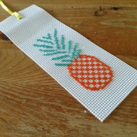 Washable bookmark Handmade bookmark Cross stitch bookmark Pineapple bookmark Tropical pineapple