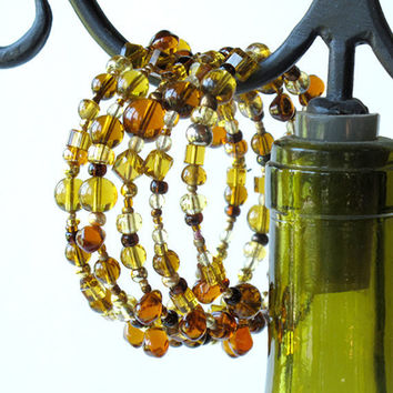 Beaded bracelet - sparkling golden hues of honey, topaz and amber - 4 stacking bangles in one