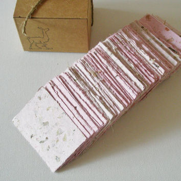 Handmade Recycled Paper in Box.  120 Business Card Sized Pieces. Pink with Bougainvillia Flowers