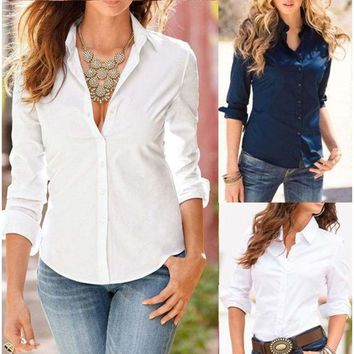Womens Cotton Long Sleeve Business OL Lady T-Shirt Top Button Down Blouse Shirt