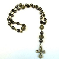 Anglican Prayer Beads -Brown Swarovski Pearls and Antique Bronze Cross