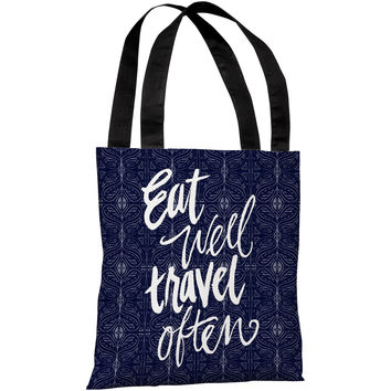 """""""Eat Well Travel Often"""" 18""""x18"""" Tote Bag by Jeanetta Gonzales"""