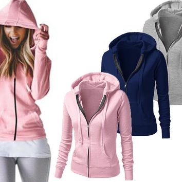 Long-Sleeved Hooded Zipper Jacket
