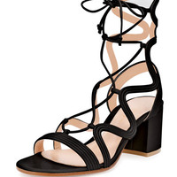 Gianvito Rossi Loop-Caged Low-Heel Gladiator Sandal, Black