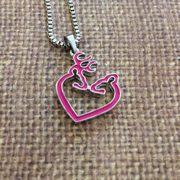 Browning Heart Deer Necklace
