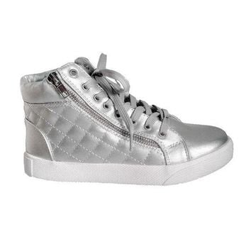 ONETOW Steve Madden Decaf - Silver High-Top Quilted Lace-Up Sneaker