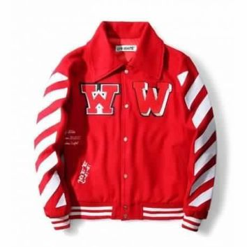 QIYIF REPLICA OFF-WHITE C/O VIRGIL ABLOH ARROW PRINT FIELD BASEBALL JACKET RED