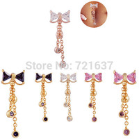 2015 4 colors high quality Bowknot belly button rings Body Jewelry Navel Dangle Belly Barbell Button Ring Body piercing EUDORA