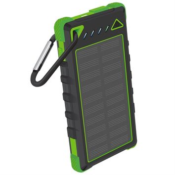 Solar Charger SUNLIT | Portable Power Bank with Flashlight | | 10000mAh Dual USB Battery Pack For Iphone Samsung Android (GREEN)