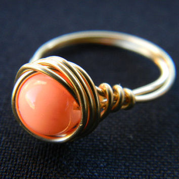 Wire Wrapped boho ring - simple - chic - coral
