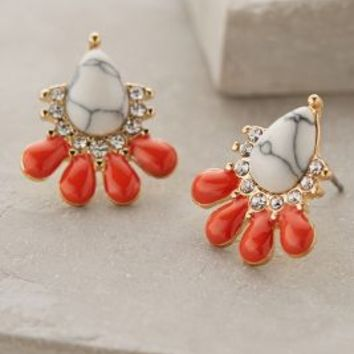 Fanned Marble Posts by Anthropologie Orange One Size Earrings