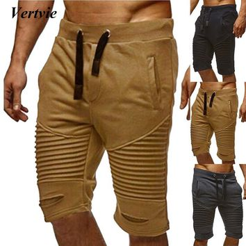 Vertvie Men Running Sport Shorts Trousers Exercise Drawstring Design Shorts Striped Gym Short Jogger Fit Quick Dry Cool Trousers