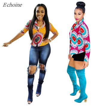 Echoine 2017 Autumn Women Outwear Ethnic Tribal Totem Print Turn Down Collar Long Sleeve Casual Jackets Fashion Coat Casaco