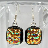 Crinkle Dichroic Glass Earrings, Orange Gold Copper Pink on Black