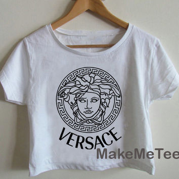 New VERSACE Medusa Printed Crop top Tank Top Women Black and White Tee Shirt - MM2