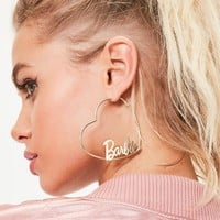 Missguided - Barbie x Missguided Gold Loveheart Hoop Earrings