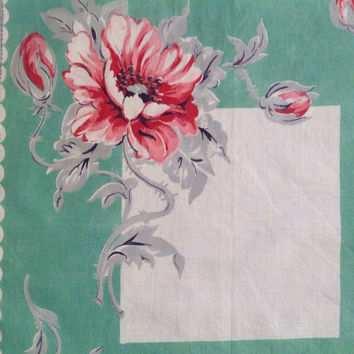 Vintage 50's Handkerchief Hankie Teal with Pink and Red Roses