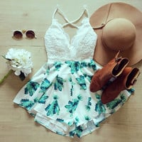 White lace Splice blue print dress