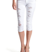 Charlotte Russe - Almost Famous White Destroyed Crop Denim