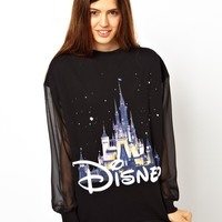 ASOS Sweatshirt with Mesh Sleeves and Christmas Disney Castle