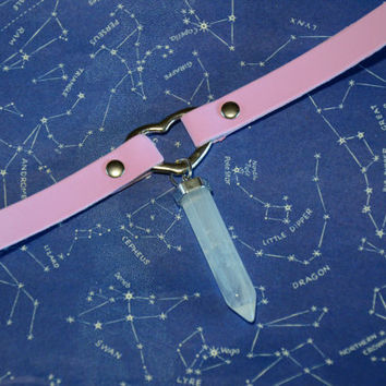 Pink Faux Leather Choker with Crystal