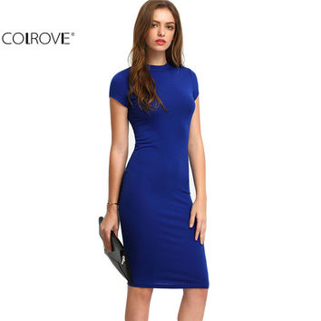 COLROVE Summer Office New Arrival Women's Bodycon Dresses Sexy Short Sleeve Crew Necl Work Knee Length Dress