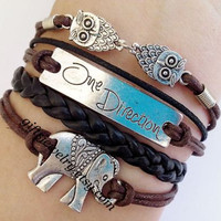 "Lucky bracelet, leather bracelet, ""One direction"" bracelet, elephant bracelet, leather bracelet, charm bracelet,Jewelry Bijoux"
