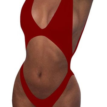 SEXYARN Women's Bandage Cut-out Halter One-piece Monokini Swimsuit Swimwear FBA