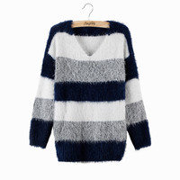 Fashion Striped Pullover Crochet Sweater