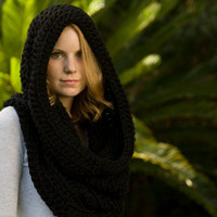 Hooded Cowl, Black Hood, Crochet Scarf, Infinity Scarf, Oversized Cowl, Chunky Cowl