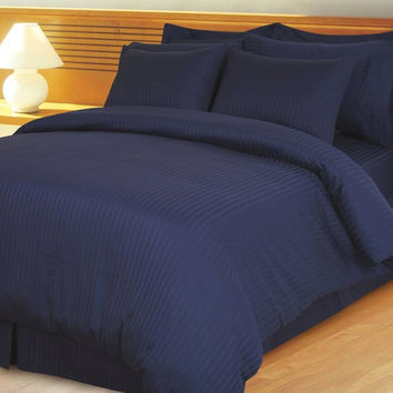 Navy Damask Stripe Down Alternative 4-pc Comforter Set 100% Egyptian cotton 600 Thread count