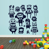 rvz1683 Wall Decal Vinyl Sticker Kids Set Monsters Nursery Playing Room Game Play