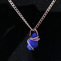 "Wire Wrapped Sapphire Sea Glass Necklace ""Zoe"""