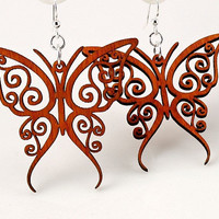 Fancy Butterfly Wood Earrings by GreenTreeJewelry on Etsy