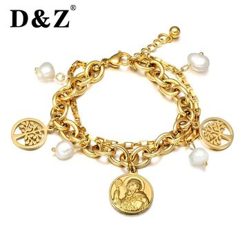 D&Z Women Bracelets & Bangles White Pearl Beads Stainless Steel Tree of Life Bracelet for Women Jewelry Classic Saint Benedict