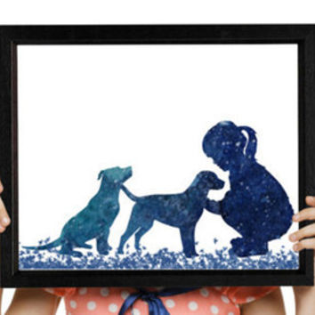 Girl with dog Nursery decor Dog print Kids and pets Watercolor art Illustration Class room decor Digital print Dog art GIFT UNDER 10