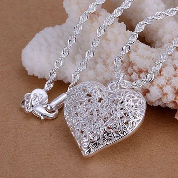 """Kiteal silver jewelry 925 vintage hollow out Frosted flower heart pendant 1mm 18"""" snake 2mm 20"""" twist rope necklace chain CP218"""