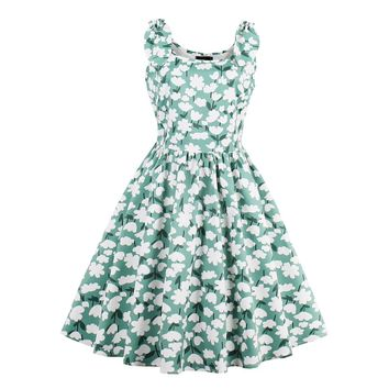 Turquoise Tea-length Cotton A-line Dress