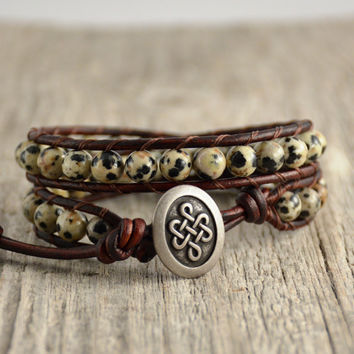 Natural beaded jewelry. Double wrap bracelet. Dalmatian jasper beads