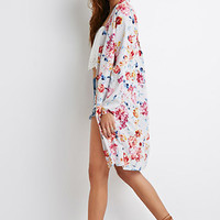 Longline Watercolor Floral Duster